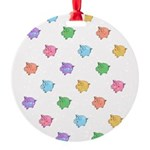 Rainbow Pig Pattern Round Ornament