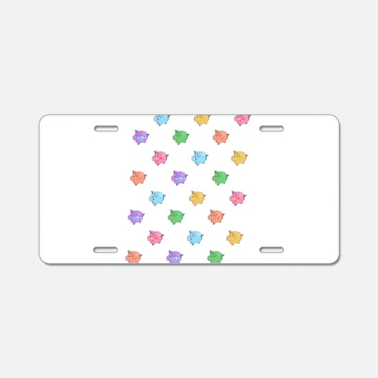 Rainbow Pig Pattern Aluminum License Plate