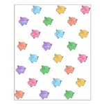 Rainbow Pig Pattern Small Poster