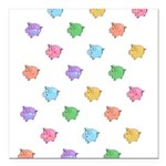 Rainbow Pig Pattern Square Car Magnet 3