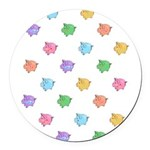 Rainbow Pig Pattern Round Car Magnet
