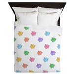 Rainbow Pig Pattern Queen Duvet