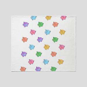 Rainbow Pig Pattern Throw Blanket
