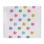 Rainbow Pig Pattern Throw Blanket
