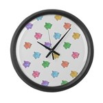 Rainbow Pig Pattern Large Wall Clock