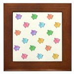 Rainbow Pig Pattern Framed Tile