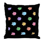 Rainbow Pig Pattern Throw Pillow