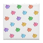 Rainbow Pig Pattern Tile Coaster