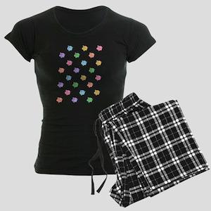 Rainbow Pig Pattern Women's Dark Pajamas