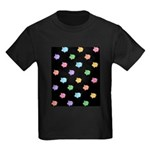 Rainbow Pig Pattern on Black Kids Dark T-Shirt