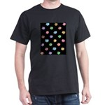 Rainbow Pig Pattern on Black Dark T-Shirt