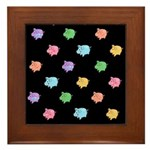 Rainbow Pig Pattern on Black Framed Tile
