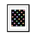 Rainbow Pig Pattern on Black Framed Panel Print