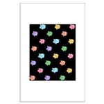 Rainbow Pig Pattern on Black Large Poster