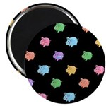 Rainbow Pig Pattern on Black Magnet