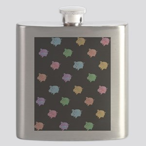 Rainbow Pig Pattern on Black Flask