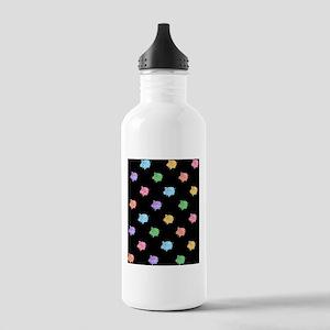 Rainbow Pig Pattern on Black Stainless Water Bottl
