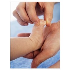 Massaging baby toes Poster