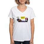 Thanksgiving Turkey Shrink Women's V-Neck T-Shirt