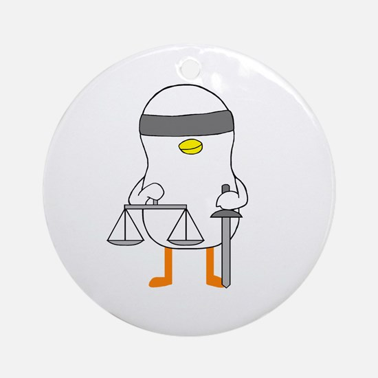 Lady Justice Ornament (Round)