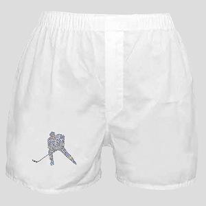 Hockey Player Typography Boxer Shorts