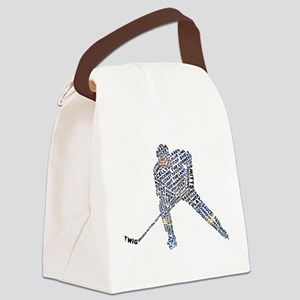 Hockey Player Typography Canvas Lunch Bag