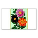Colorful Flowers Vintage Sticker (Rectangle 50 pk)