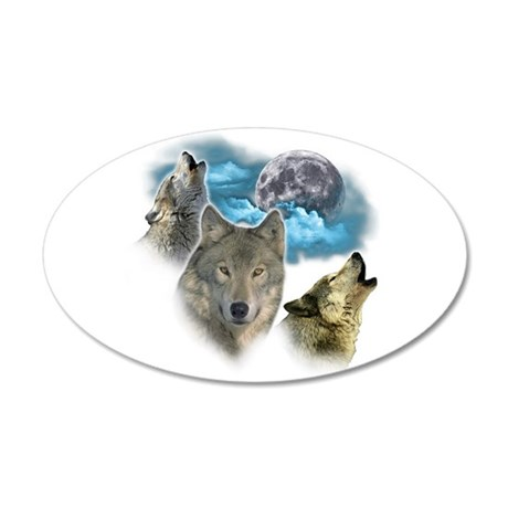 Wolves Moon 35x21 Oval Wall Decal