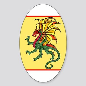 Chinese Flying Dragon Oval Sticker