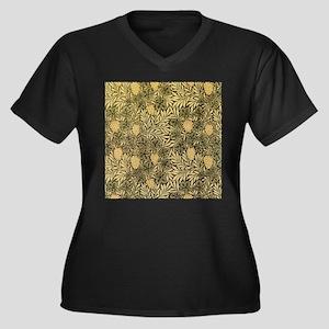 William Morris Pattern Women's Plus Size V-Neck Da