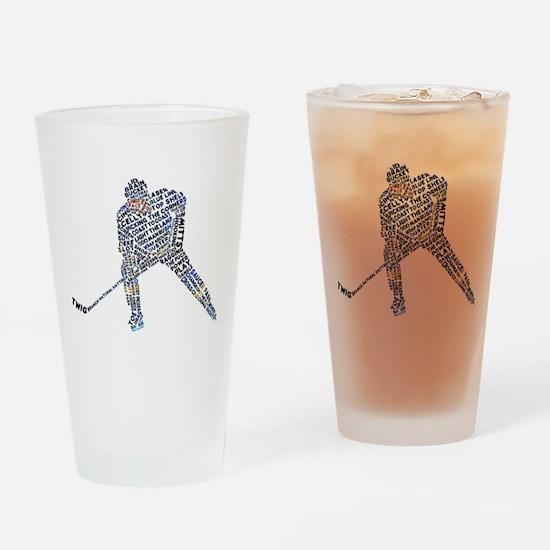 Hockey Player Typography Drinking Glass