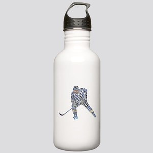 Hockey Player Typography Stainless Water Bottle 1.