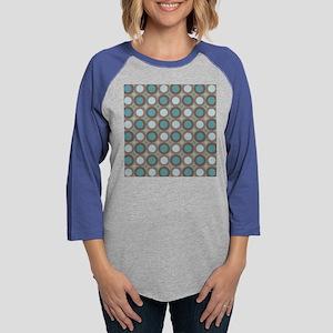Teal Mod Dots Geometric Womens Baseball Tee