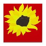 Red & Yellow Sunflower Tile Coaster