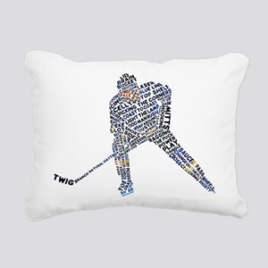 Hockey Player Typography Rectangular Canvas Pillow