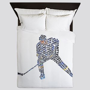 Hockey Player Typography Queen Duvet