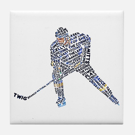 Hockey Player Typography Tile Coaster