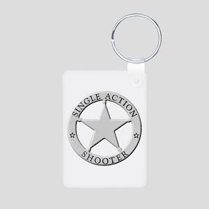 Single Action Shooter Aluminum Photo Keychain