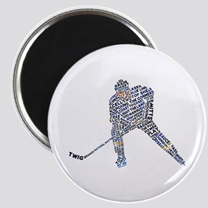 Hockey Player Typography Magnet
