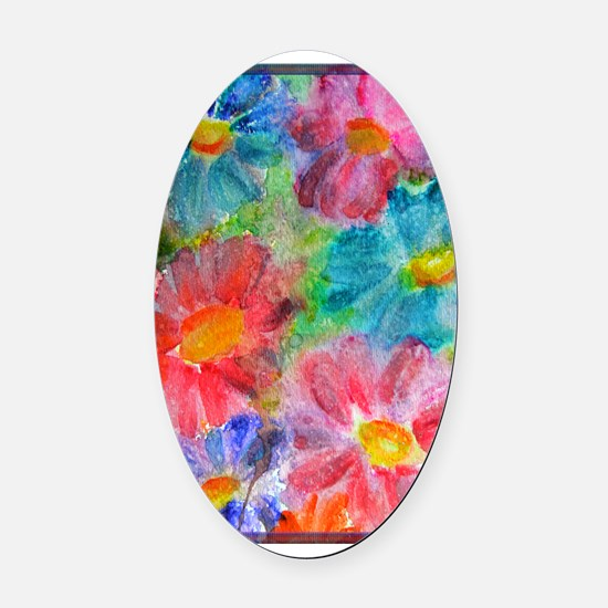 Flowers! Bright floral art! Oval Car Magnet