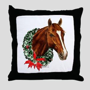 Christmas Holiday Horse Throw Pillow