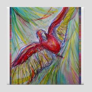 Scarlet Macaw! bird art! Tile Coaster