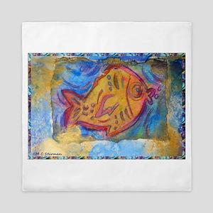 Fish, bright, primitive art! Queen Duvet