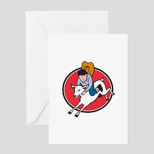 Junior Rodeo Cowboy Riding Sheep Greeting Cards