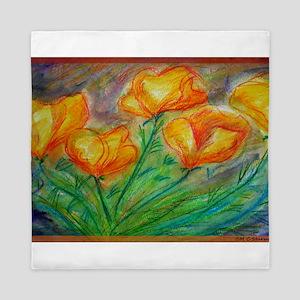 Golden Poppies! Colorful art! Queen Duvet