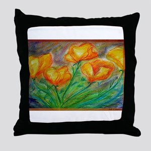 Golden Poppies! Colorful art! Throw Pillow