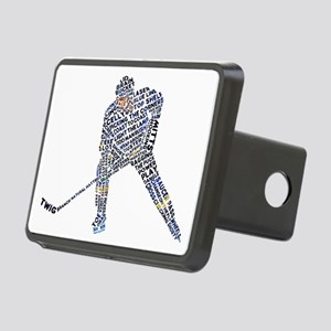 Hockey Player Typography Rectangular Hitch Cover