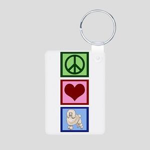 Peace Love Poodles Aluminum Photo Keychain