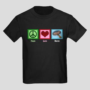 Peace Love Bacon Kids Dark T-Shirt