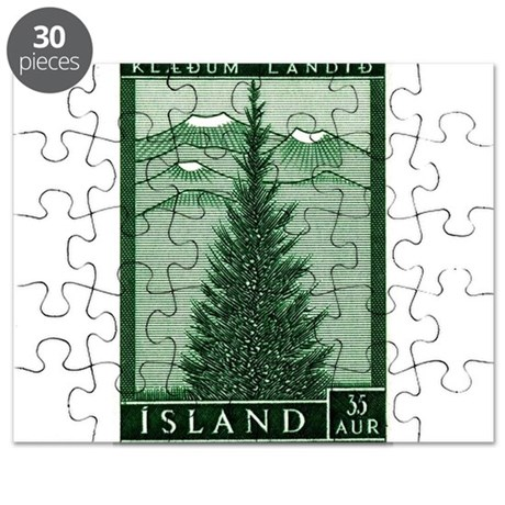 1957 Iceland Spruce with Volcanoes Stamp Puzzle